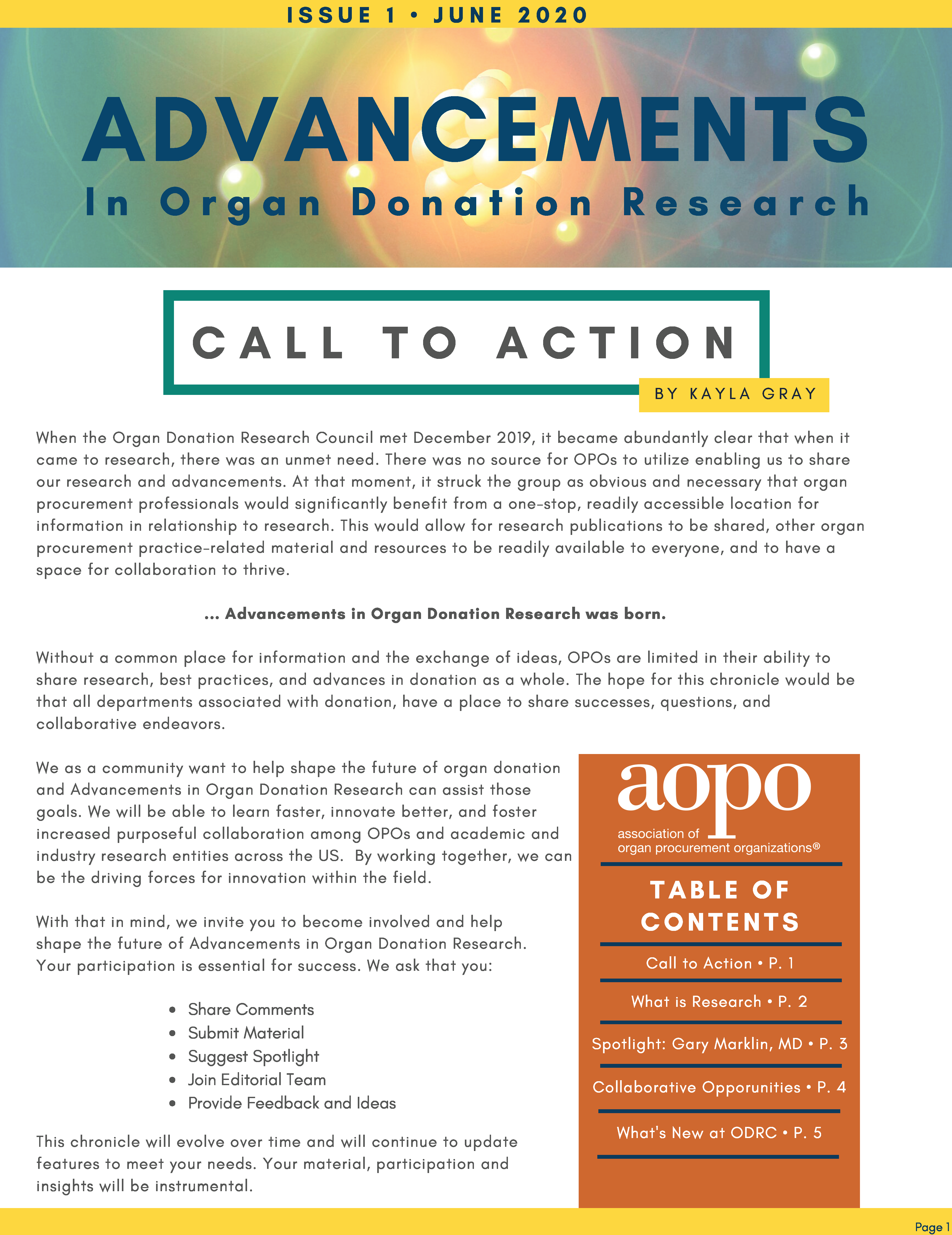 Advancements in Organ Donation Reasearch Jun 2020 Page 1