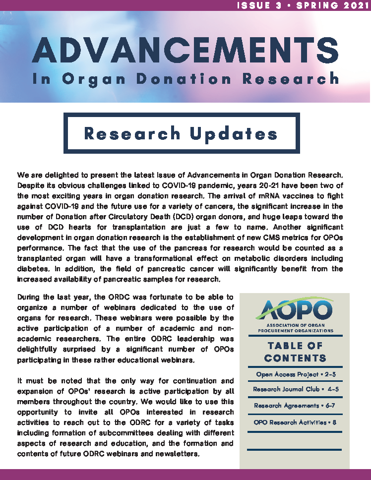 Advancements in Organ Donation Research Spring 2021 Page 1
